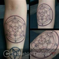 lines and dots tattoo image